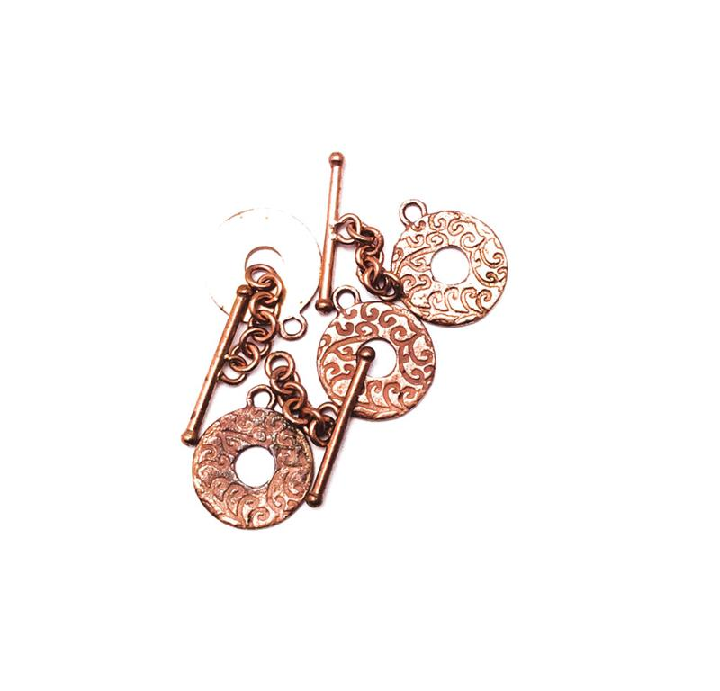 Solid Copper Swirl Print Flat Round Toggle Clasp Findings Q6