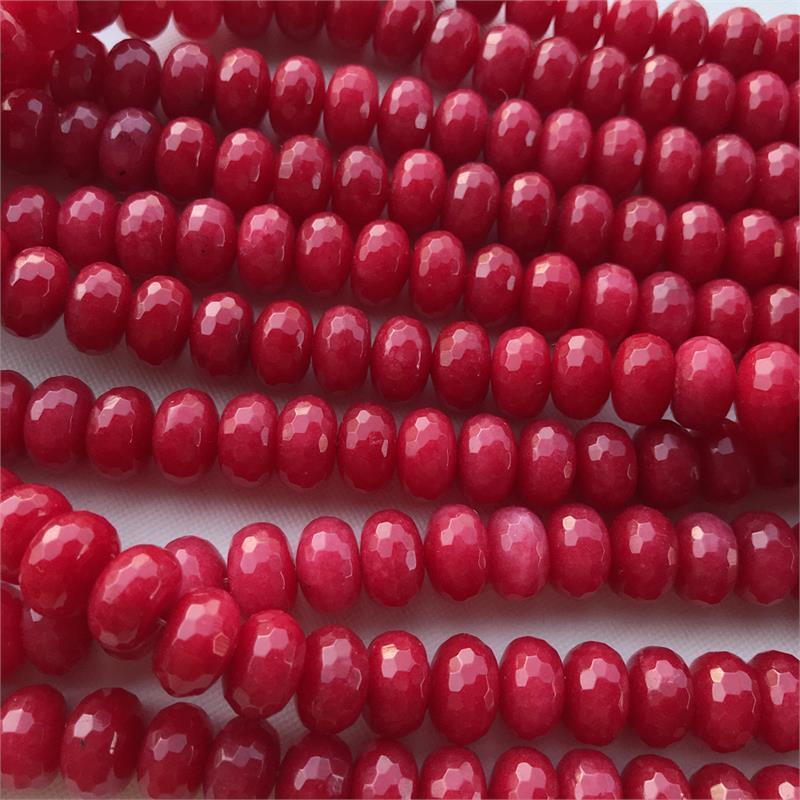 6*5mm one strand positive red quartz ruby red beads gemstone beads full strand, faceted quartz rondelle red jade quartz beads