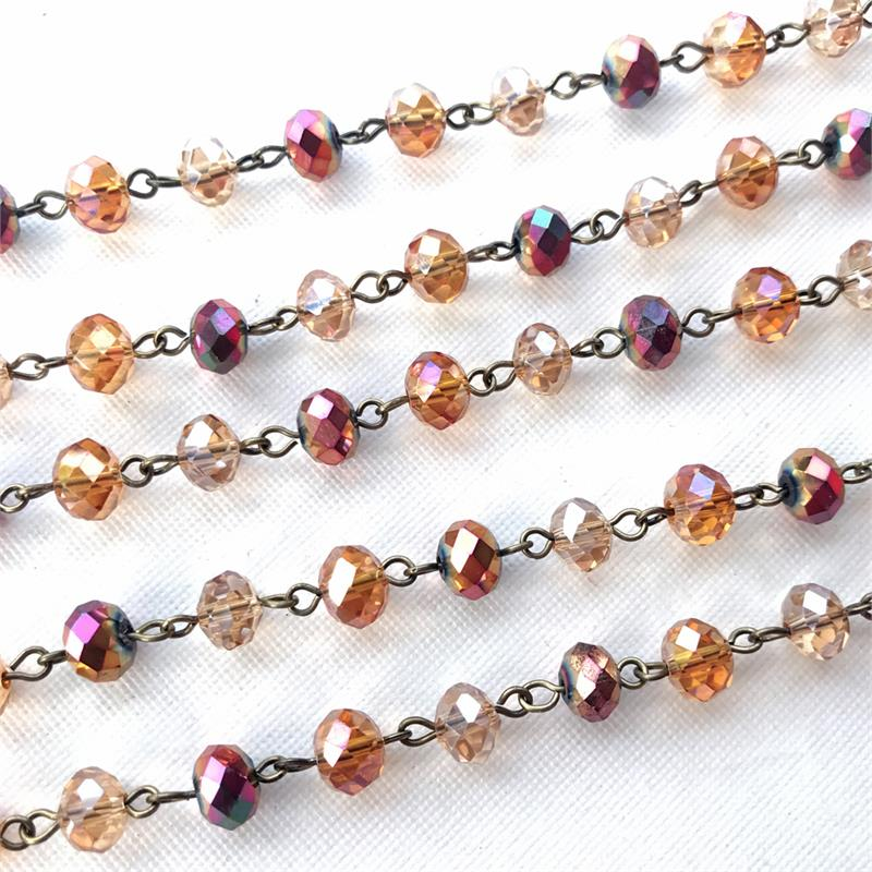812d0c4b8 Essence of Autumn Beaded Rosary Chain 8mm Crystal Rondelle ...