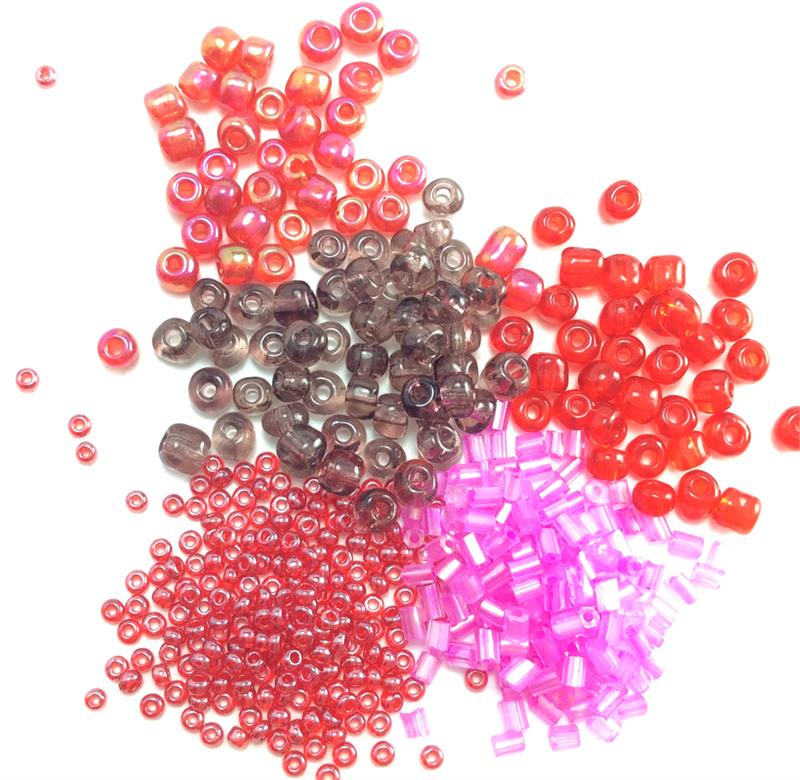 """/""""PINK//RED/"""" ROUND   GLASS  BEADS PACK 10"""