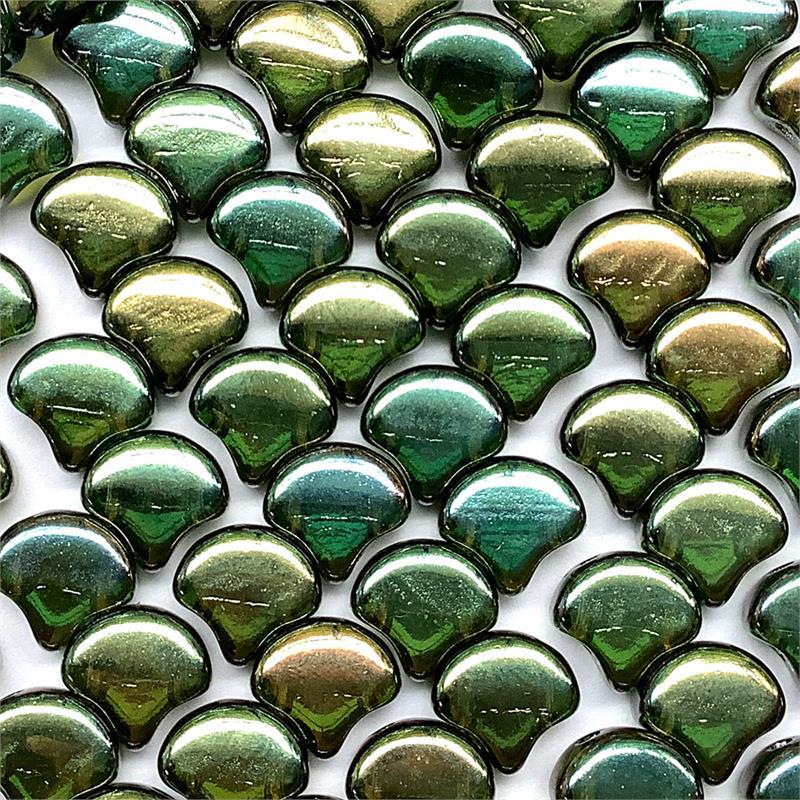40pcs. 2-Hole Ginko Bead Crystal Gleam Green Glaze