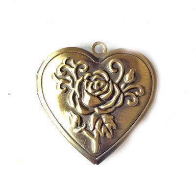 Antique Brass Plated Brass Heart Rose Locket Photo Frame Pendant ...