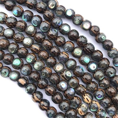 Old Dark Palmwood Beads with Abalone Shell Inlay