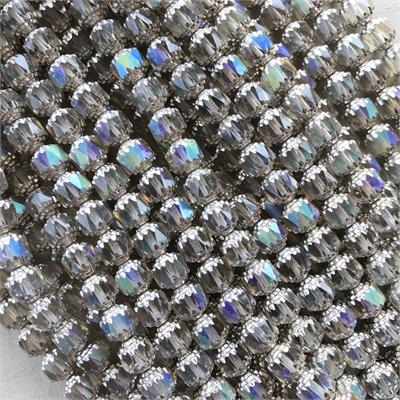 Cathedral Czech Glass Beads Barrel Champagne Shine 8mm