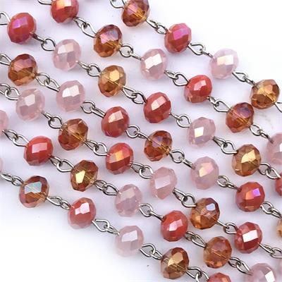 Pink Orange Rosary Crystal Chain