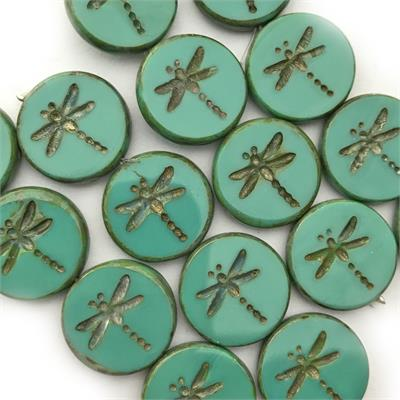 Turquoise Green 17mm Dragonfly Coin Beads