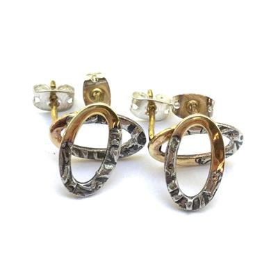 Molten Metal Mix Brass Oval Post Earrings