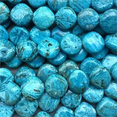 15MM AQUA BLUE FLOWER CENTER DRILLED BEADS #31 PK//2
