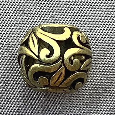 Large Hole Leaf Vine Beads Round Antique Brass Plated 12mm Q5 per Pkg