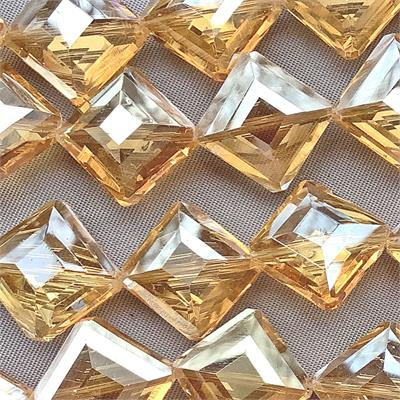 Brandy Satin 16mm Faceted Diamond Chinese Crystal Glass Beads per Strand