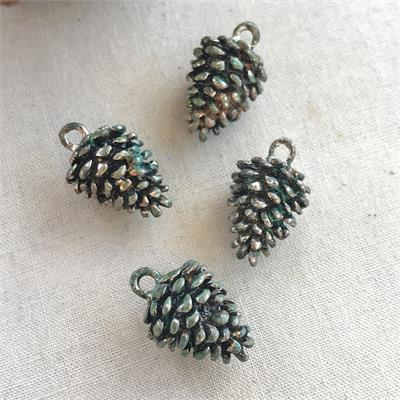 20mm Patina Verdigris Pinecone Charms