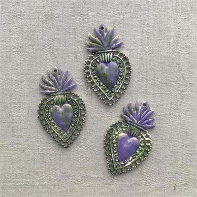 Purple Green Sacred Garden Heart Charms