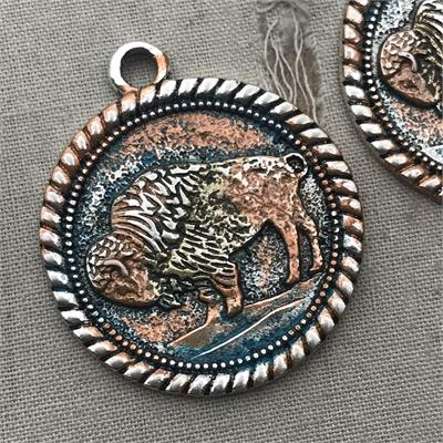 Bodie Bison Coin Medallion Patina Charm