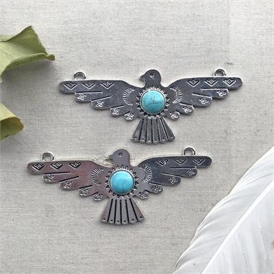 Thunderbird Pendant Turquoise Silver Plated Pendant Finding