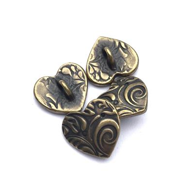 Amor Swirl Heart Brass Plated Pewter Button