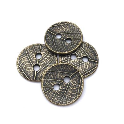 Leaf Round Brass Plated Pewter Button