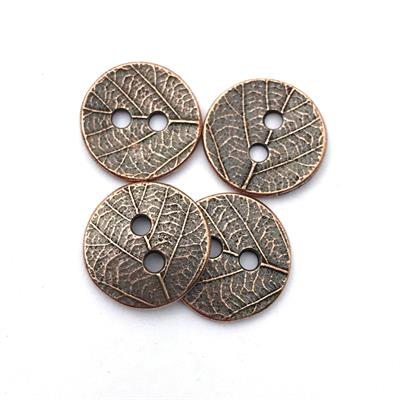 Leaf Copper Plated Pewter Button
