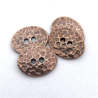 Hammered Oval Copper Plated Pewter Button