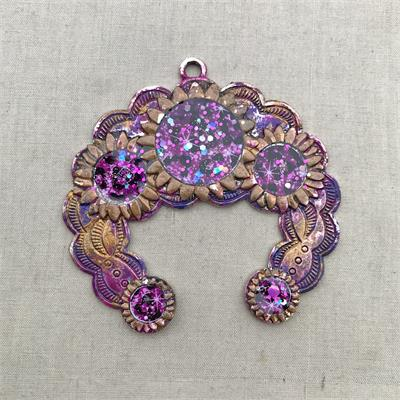 Purple Gold Sunflower Crescent Pendant