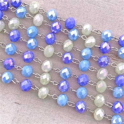 Blue Green Crystal Rosary Beaded Chain