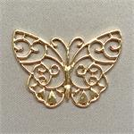 Gold Plated Filigree Butterfly Pendants