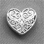 Ornate Heart Antique Silver Plated Beads