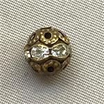 Antique Brass Filigree Rhinestone Ball Beads 8mm