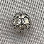 Gunmetal Filigree Rhinestone Ball Beads 8mm