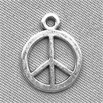 Peace Sign Charms 13mm Antique Silver Plated Q50 per Pkg