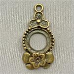 Clover Flower Cabochon Memory Tray Charms 31x18mm Antique Brass Plated Q10 per Pkg