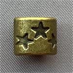 Large Hole Star Drum Beads Antique Brass Plated 12x11mm Q6 per Pkg
