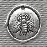 Honeybee Coin Charms 19x18mm Antique Silver Plated Q6 per Pkg