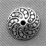 Dotted Wide Cone Bead Caps 11x5mm Antique Silver Plated Q50 per Pkg