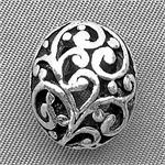 Tibetan Style Filigree Oval Beads Antique Silver Plated 16x13.5mm Q8 per Pkg