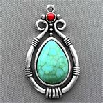 Imitation Turquoise Teardrop Charms 38x22mm Antique Silver Plated Q1 per Pkg