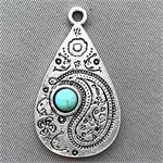 Imitation Turquoise Paisley Teardrop Charms 33x19mm Antique Silver Plated Q4 per Pkg