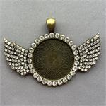 Crystal Rhinestone Wing Cabochon Setting Pendant 58.5x41mm Antique Brass Plated Q1 per Pkg
