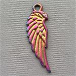 Angel Wing Charms 33x10mm Multicolor Plated Q6 per Pkg