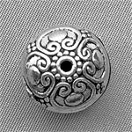Tibetan Style Saucer Hollow Beads Antique Silver Plated 16x12mm Q5 per Pkg