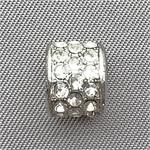 Large Hole Crystal Rhinestone Drum Beads Antique Silver Plated 9x7mm Q10 per Pkg
