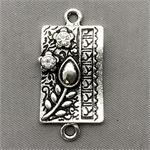 Baroque Floral Quilt Crystal Rhinestone Rectangle Links 2 Loop Connectors 37x13mm Antique Silver Plated Q5 per Pkg