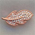 Micro Pave CZ Rhinestone Feather Pearl Shortener Clasps Rose Gold Copper Plated 22.5x11.5x9mm Q1 per Pkg