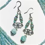 Art Nouveau Amazonite Earrings Mini Kit DIY Jewelry Making Kit