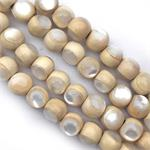 Natural White Wood Beads with White MOP Inlay