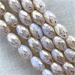 White Bronze Wash Faceted Oval Czech Glass Beads