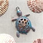 Hand Painted Blue Verdigris Sea Turtle Pendant