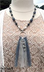 Gray Macrame Fiber Necklace