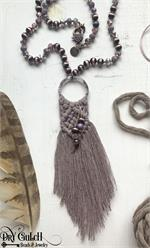 Mauve Macrame Fiber Necklace