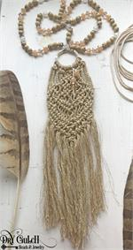 Gold Macrame Fiber Necklace