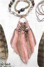 Pink Macrame Fiber Necklace